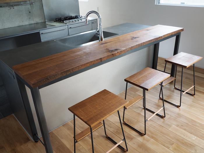 楢と鉄のカウンターテーブル+ハイスツール