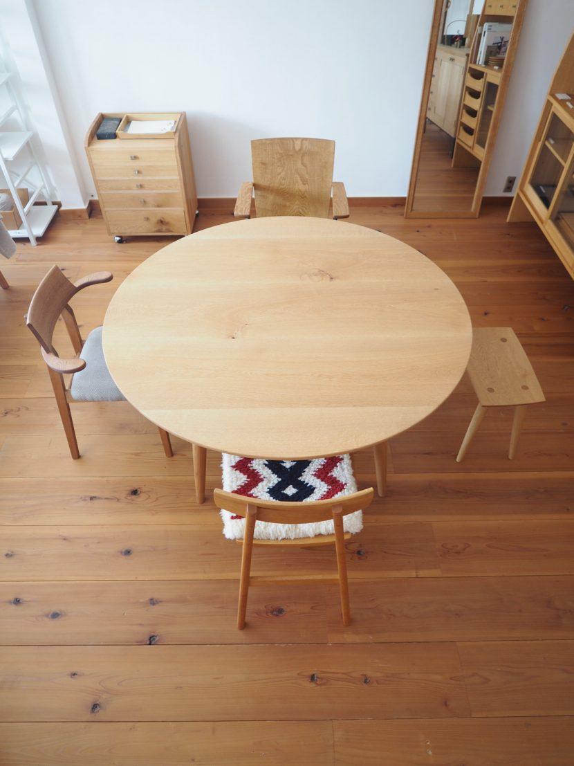 ラウンドテーブル 丸テーブル 楢 オーク