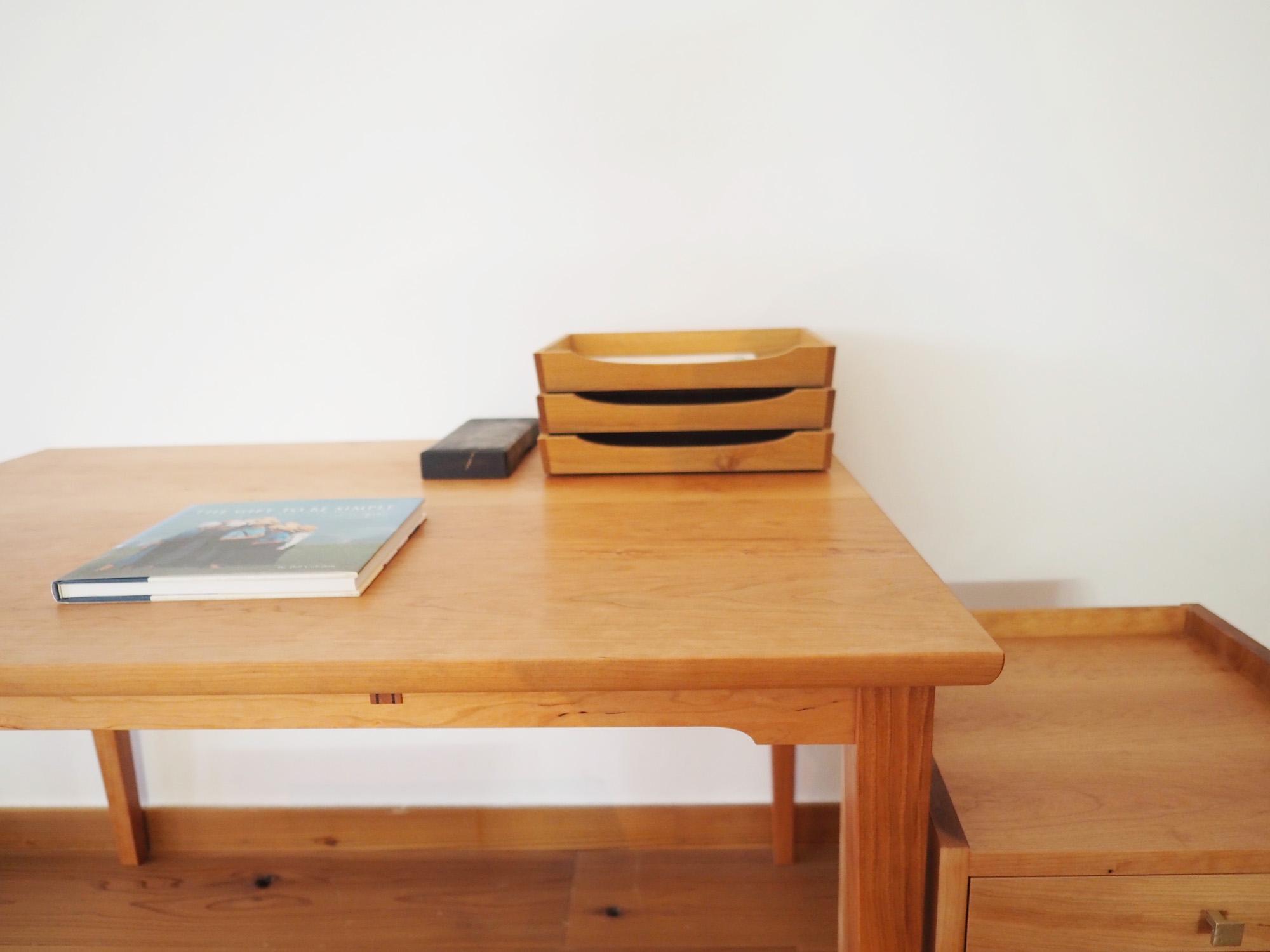 デスク ワゴン 勉強机 ワークデスク 木 チェリー